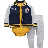 Newborn Baby Boys Coat Jacket + Romper + Long Pants 3pcs Clothing Set Outfit