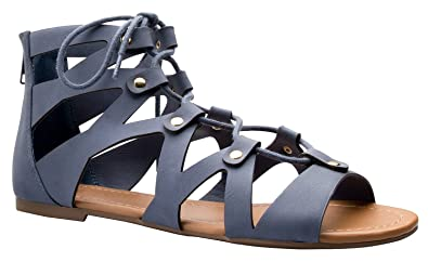 ca1a51e712d5be OLIVIA K Women s Strappy Gladiator Flat Sandals- Casual Dress Low Flat Heel-  Ankle Strap