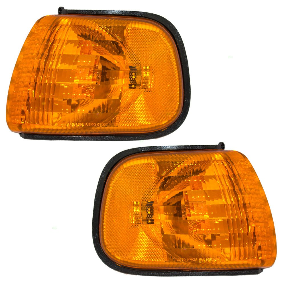 Driver and Passenger Park Signal Corner Marker Lights Lamps with Amber & Clear Lenses Replacement for Dodge Van 55076527AC 55076526AC AUTOANDART.COM 4333277051