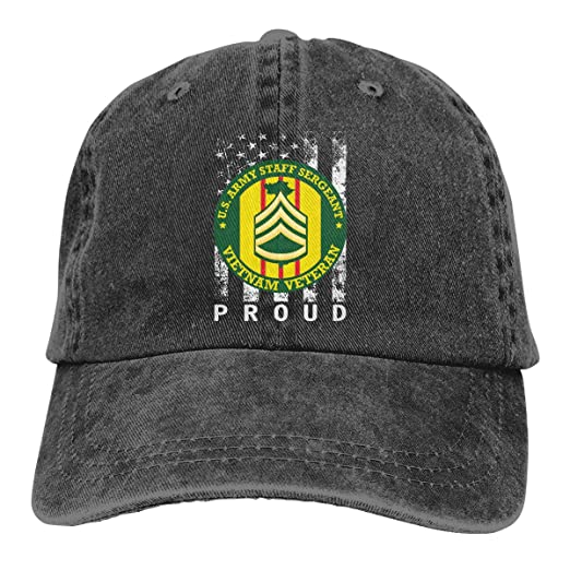 e1cac1f7fb9 Amazon.com  MOSOSOCA US Army Staff Sergeant Vietnam Veteran Unisex Washed  Retro Proud American Adjustable Baseball Cap Dad Hat Black  Clothing