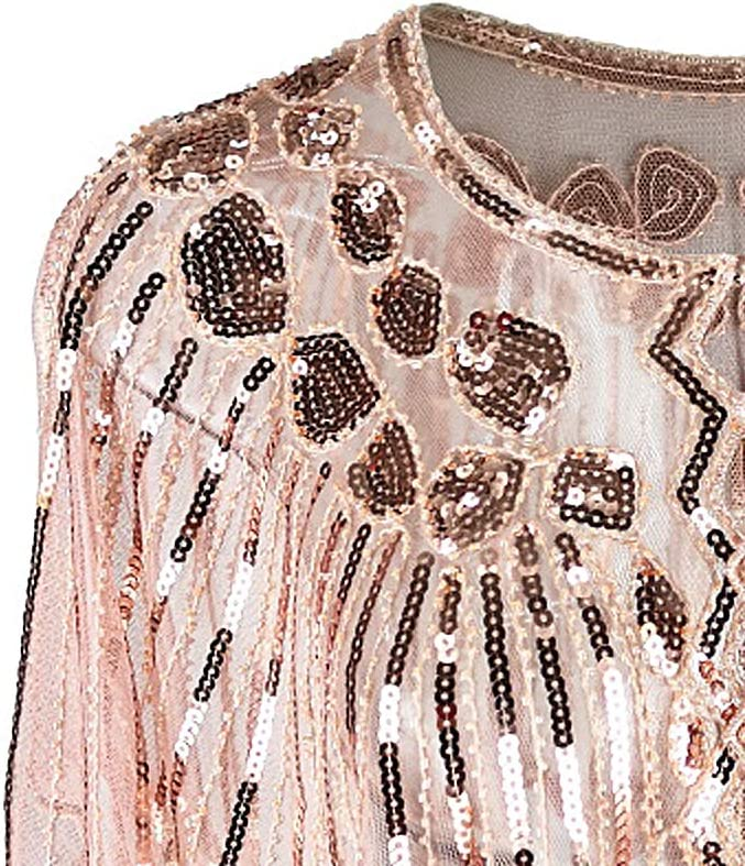 Grouptap 1920 Gatsby Chal Bolero Lentejuelas Capa Encogimiento de Hombros para Mujeres Damas Flapper Art Deco Vintage Vestido Disfraz