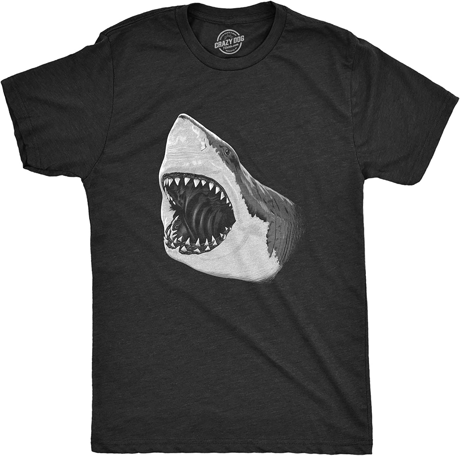 Mens Great White Shark T Shirt Pearly Teeth Jaws Attacking Cool Graphic Tee (Heather Black) - 5XL