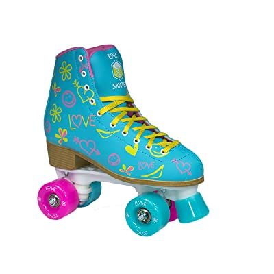 Epic Splash High-Top Indoor/Outdoor Quad Roller Skates w/2 pr of Laces (Pink & Yellow) - Children's : Sports & Outdoors