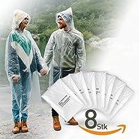 8er Set Regenponcho einweg mit Kapuze für Damen und Männer - zum Wandern, für Festivals, Fahrrad fahren - wasserabweisender Regencape