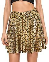 Delcoce Women Shiny Fish Scale Print Mermaid Flare Pleated Swing Mini Skirt S-3X