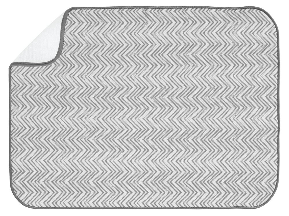 InterDesign iDry Chevron Kitchen Mat, 24 x 18, Gray/White by InterDesign