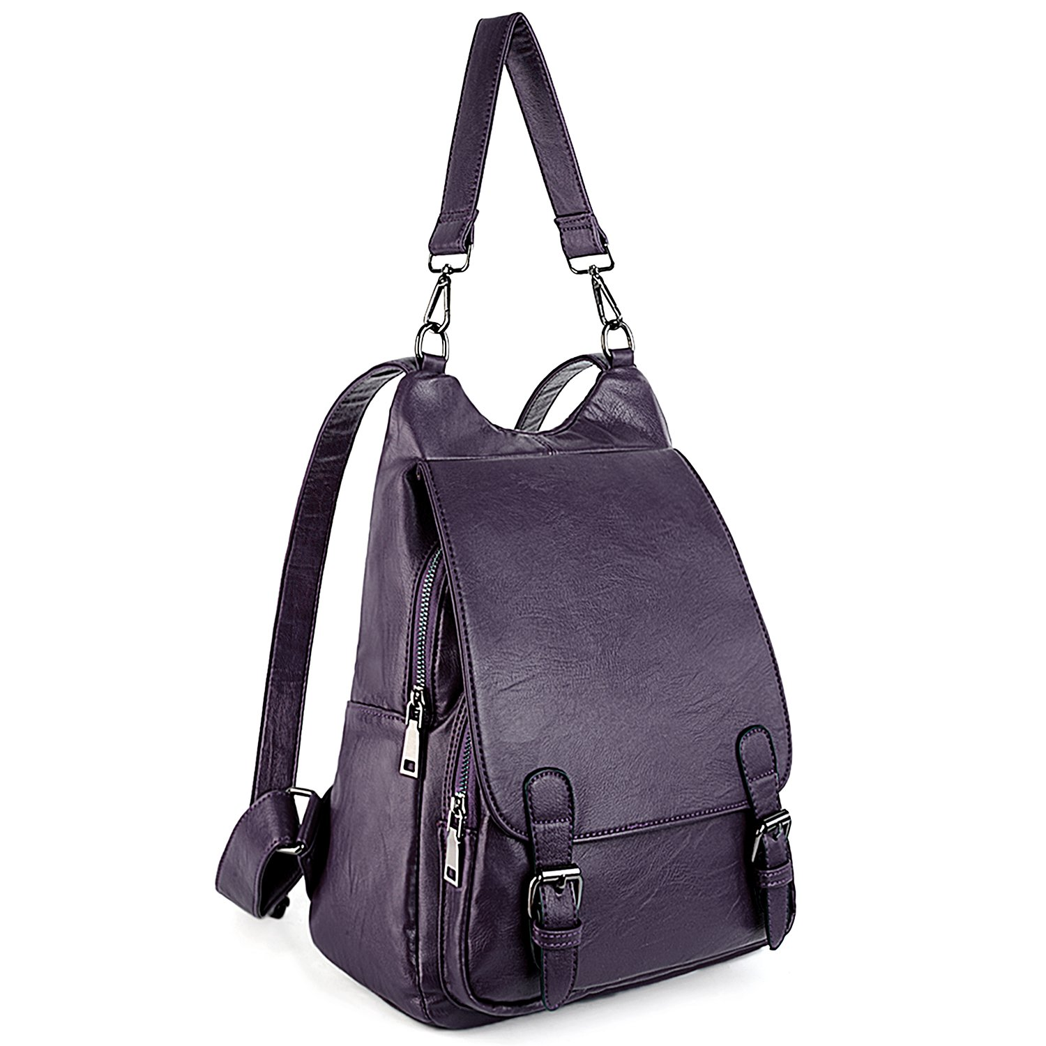 UTO Women Backpack Purse PU Washed Leather Large Capacity Security Ladies Rucksack Shoulder Bag Purple C
