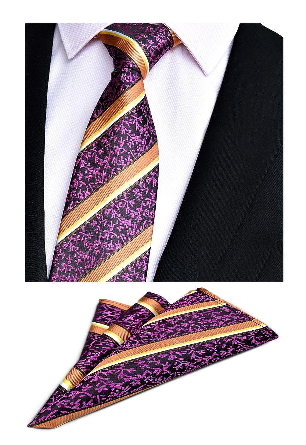 Mens Purple Striped Office Necktie Hanky Wedding Silk Suit Tie Pocket Square Set