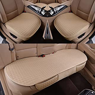 Han sui song Car Front Single Seat Cover Black and Beige, Set of 2