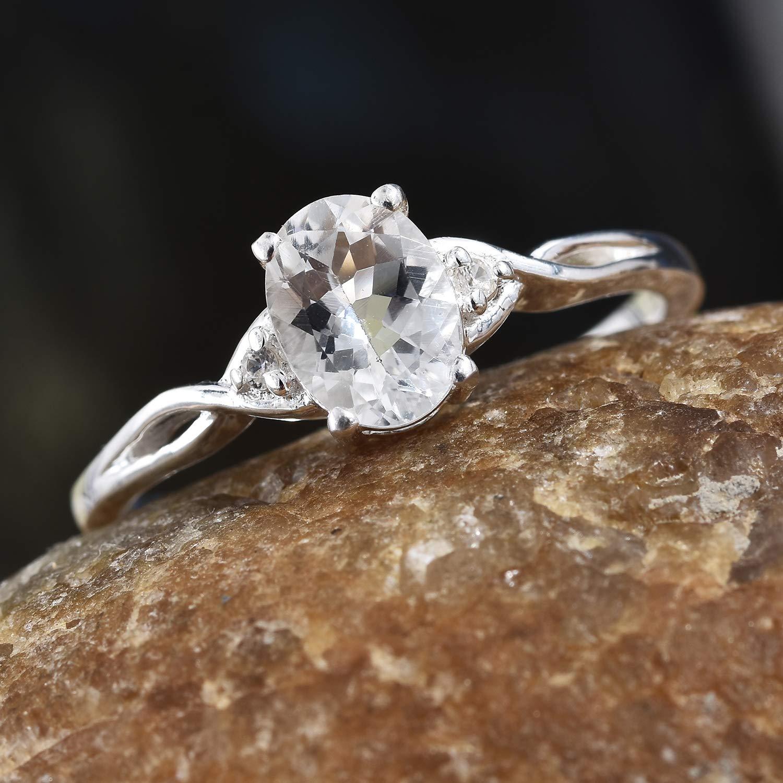 925 Sterling Silver Goshenite Zircon Statement Ring for Women Cttw 0.9 Jewelry Gift