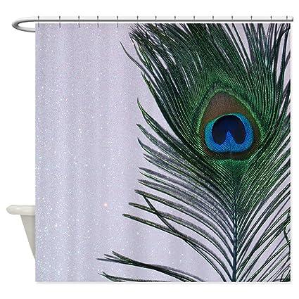 Amazon CafePress Glittery White Peacock Shower Curtain