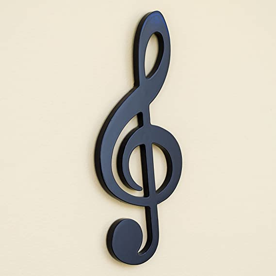 Amazon.com: Negro Treble clef Glossy de pared (Madera ...