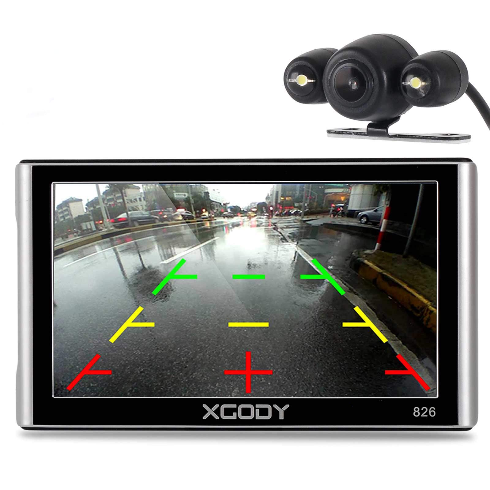 Xgody 826BT Car GPS Navigation with 6 Meters Backup Camera 7'' 256MB/8GB Sunshade Capacitive Touch Screen Trucking GPS NAV Lifetime Map Updates Speed Limit Displays Spoken Turn-by-Turn Directions by XGODY