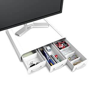 Mind Reader PC, Laptop, IMAC Monitor Stand and Desk Organizer, White