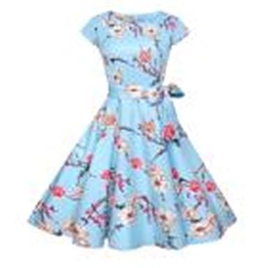 19b562006e7bf3 50er Vintage Kleider, Loveso ❤ Damen Elegant Audrey Hepburn Kleid Kurzarm  A-Linie