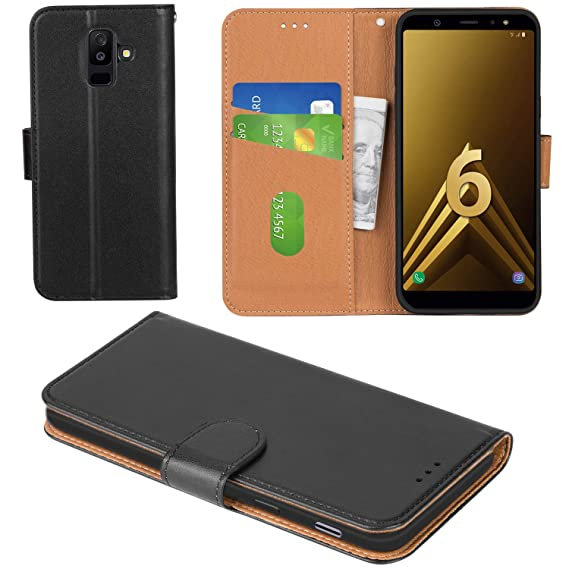 low priced 9b501 3dfbb Aicoco Galaxy A6 Plus 2018 Case Flip Cover Leather Wallet Phone Case for  Samsung Galaxy A6 Plus 2018 - Black