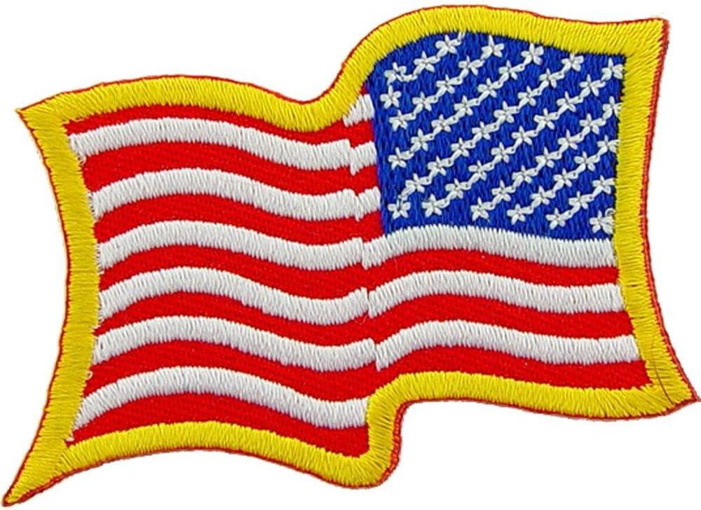 Parche de brazo derecho ondulado con bandera de Estados Unidos de 2 1/4