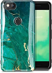 GVIEWIN Marble Google Pixel 2 Case 2017 Release, Ultra Slim Thin Glossy Soft TPU Rubber Gel Phone Case Cover Compatible Google Pixel 2 (Green/Gold)