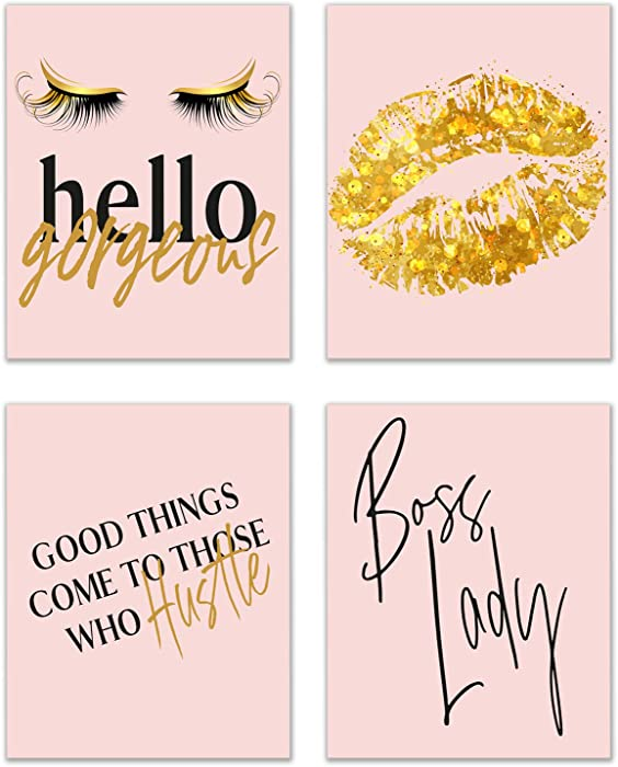 Girl Boss Prints - Set of 4 (8x10) Glossy Blush Pink and Gold Inspirational Hustle Office Motivational Poster Wall Art Women Decor Fashionista Quotes - Lips and Lashes Lady