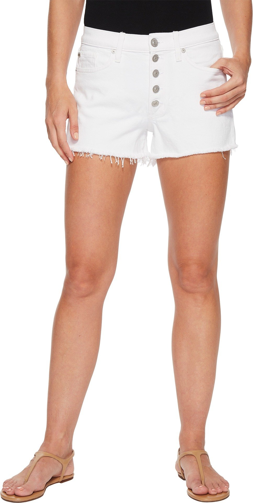 HUDSON Women's Zoeey High-Rise Button Cut Off Shorts In White White 27 3