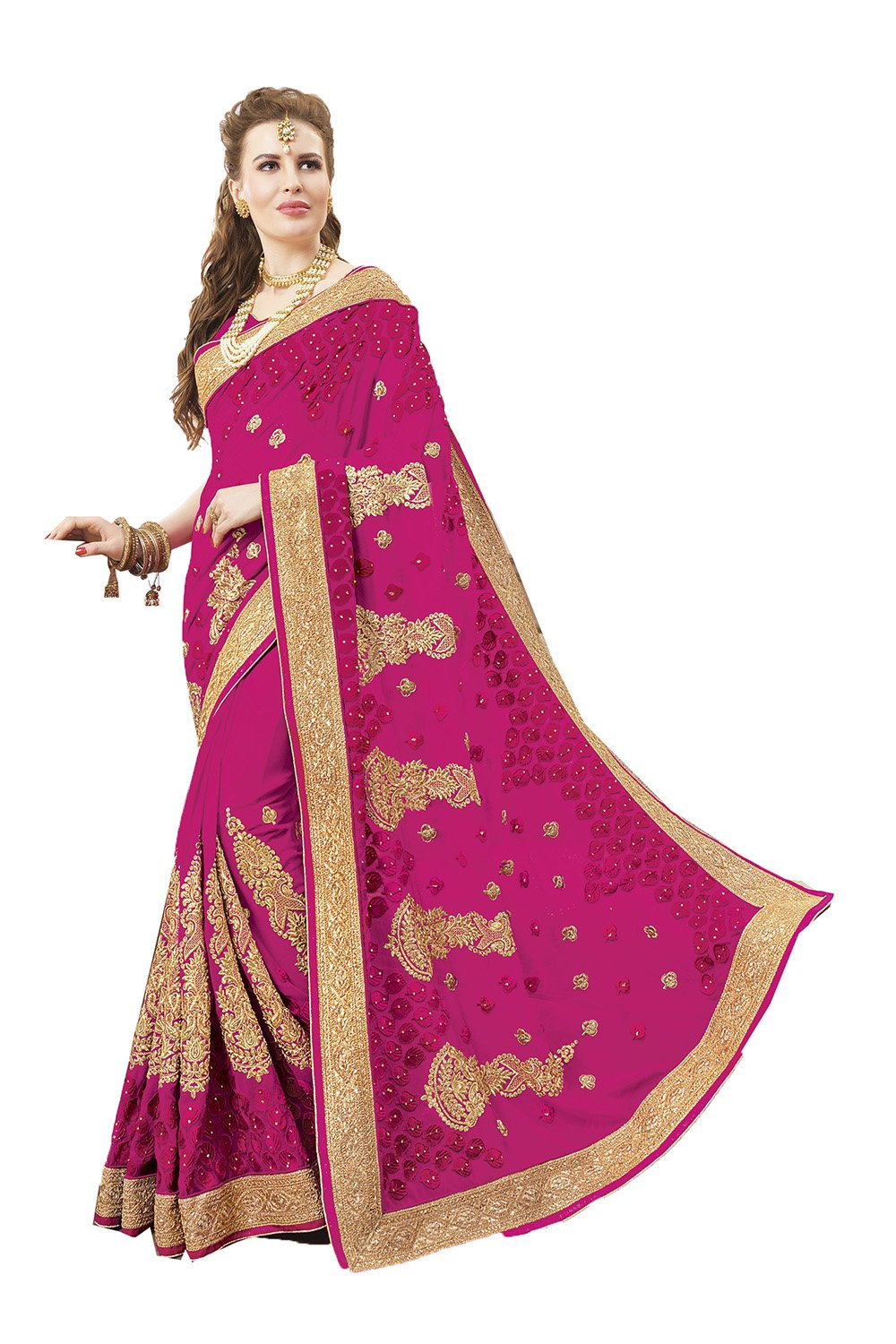 Indian Sarees For Women Wedding Designer Party Wear SkyBlue Traditional Sari