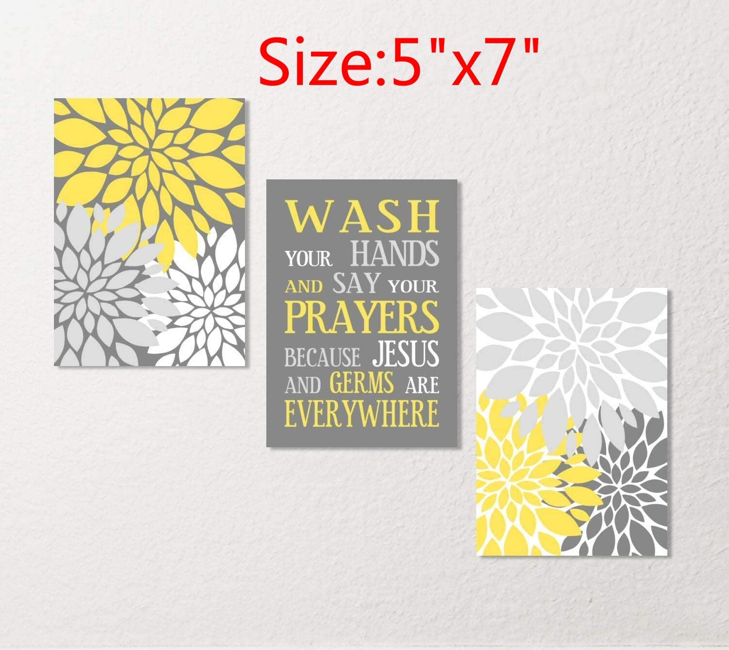 Amazon Com Blafitance Bathroom Wall Art Set Wash Your Hands Germs Jesus Saying Flower Canvas Or Prints Home Decor Yellow Gray White Spa Posters Prints