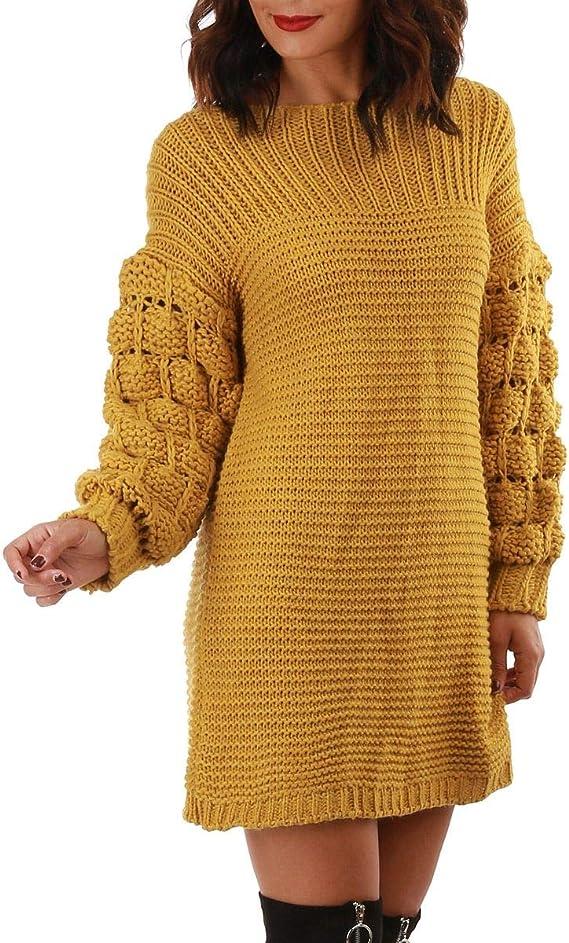 La Modeuse Robe Pull A Col Rond En Grosse Maille Amazon Fr Vetements Et Accessoires