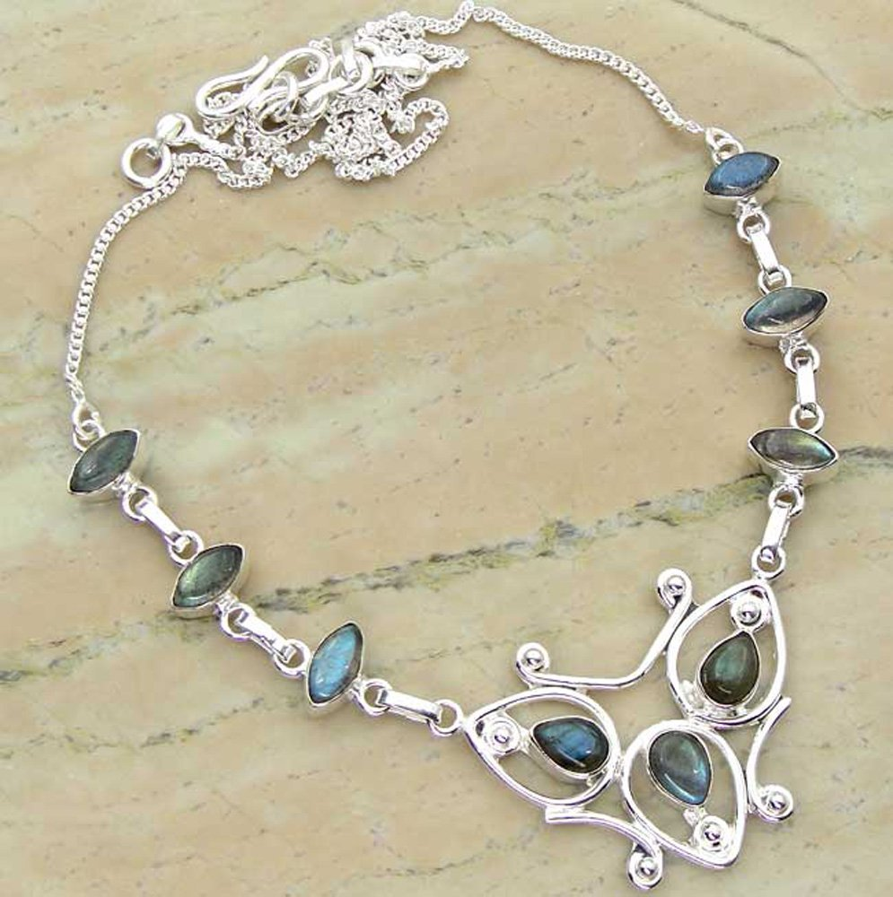 6.72ctw Genuine Labradorite .925 Sterling Silver Overlay Handmade Necklace Jewelry