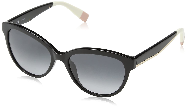Womens Sunglasses, Shiny Black, 55 Furla Eyewear