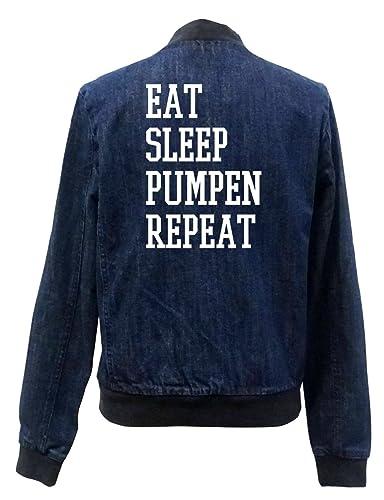 Eat Sleep Pumpen Repeat Bomber Chaqueta Girls Jeans Certified Freak