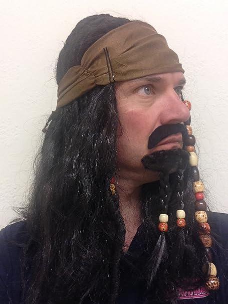 Peluca de Pirata con Cabello y Cuentas de Jack Sparrow del Caribe con Barba para Disfraz: Amazon.es: Juguetes y juegos