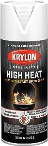 Krylon K01708077 High Heat Spray Paint, Aerosol, Flat White