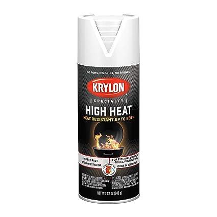 Krylon K01708077 High Heat Spray Paint Aerosol Flat White