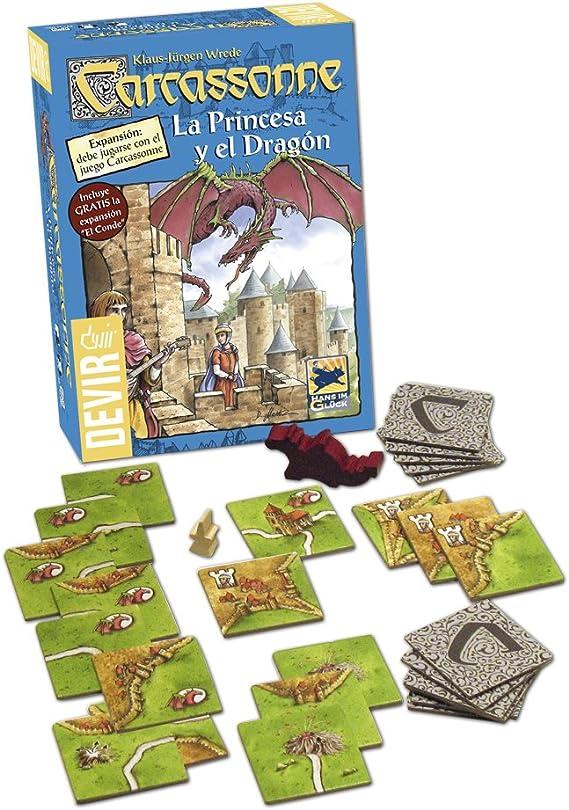 Devir - Carcassonne La Princesa y el Dragón, Juego de Mesa ...