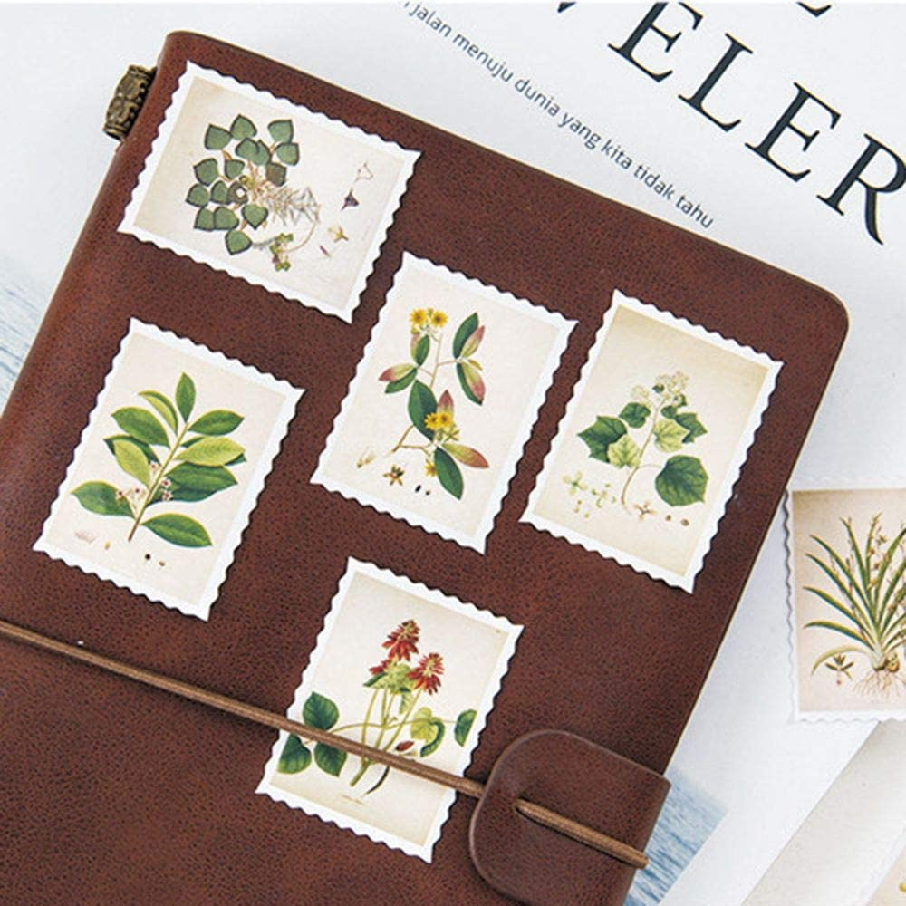 Kids Crafts Gift Wrap ISKYBOB 4 Boxes//180 Pieces Vintage Stamp Nature Plant Paper Stickers for Decorating Scrapbooking Album