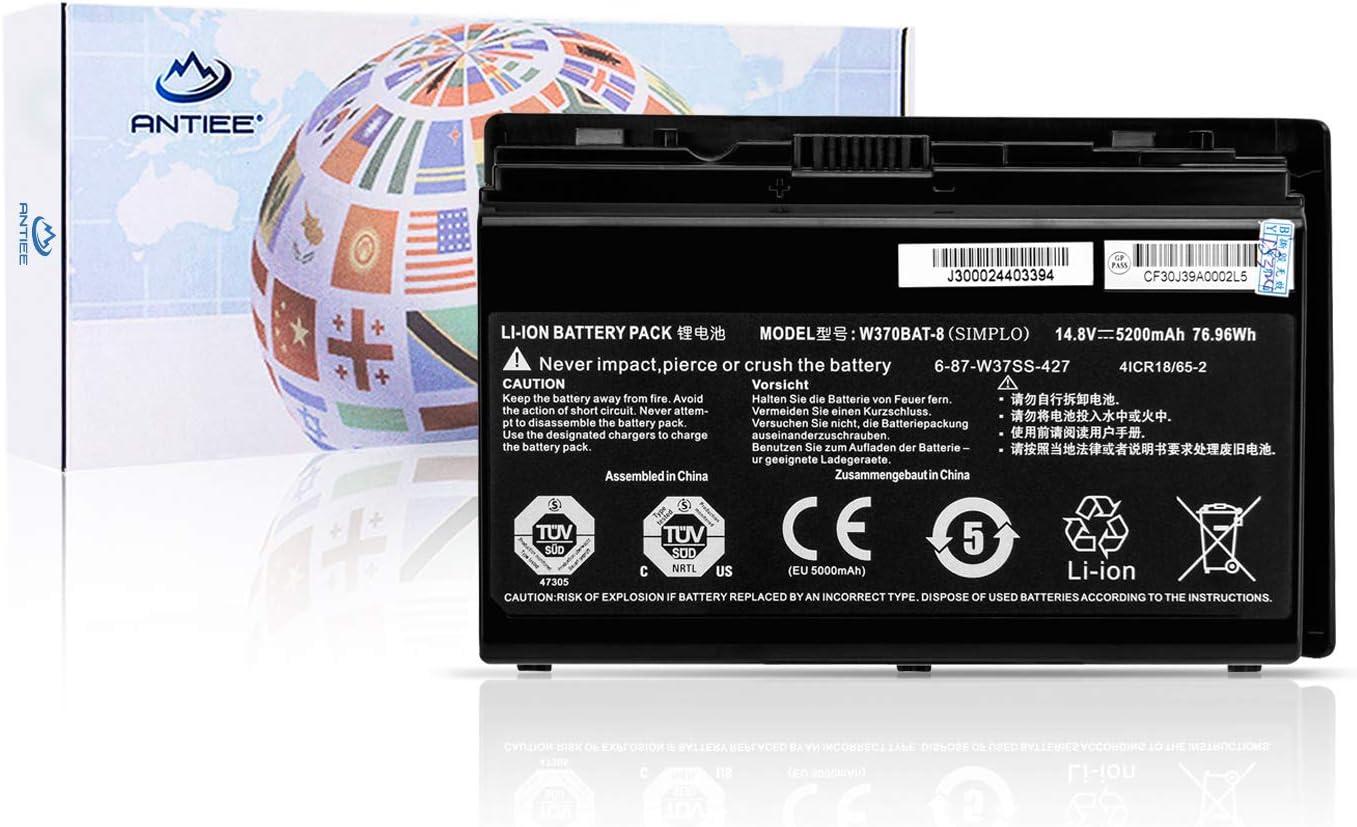 ANTIEE W370BAT-8 Battery for Clevo W350ET W350ETQ W355STQ Schenker XMG A503 A522 A722 Sager NP6350 6370 7358 Gigabyte P2742 Hasee K650S-i7 6-87-W370S-427 6-87-W370S-4271 6-87-W37ES-427 6-87-W37SS-427