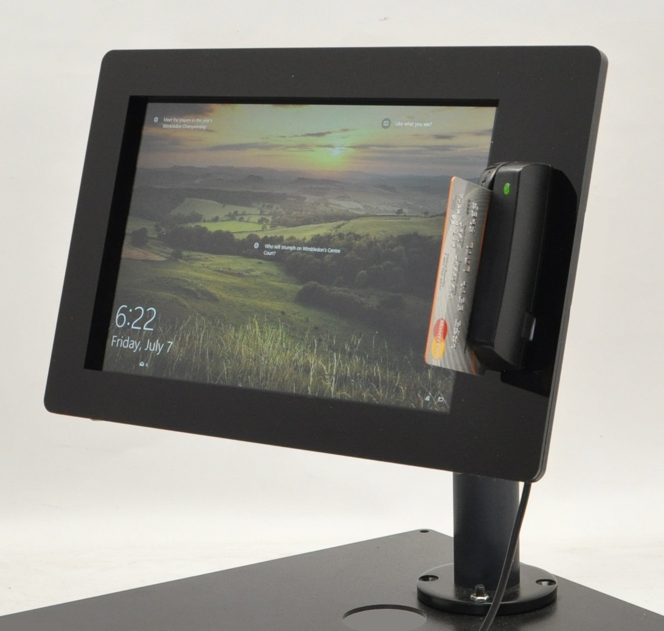TABcare POS Kiosk Kit for Windows based Tablet with USB Swipe Card Reader Mount supports Magtek Dynamag (Pole Stand, Dell Venue 11 Pro)