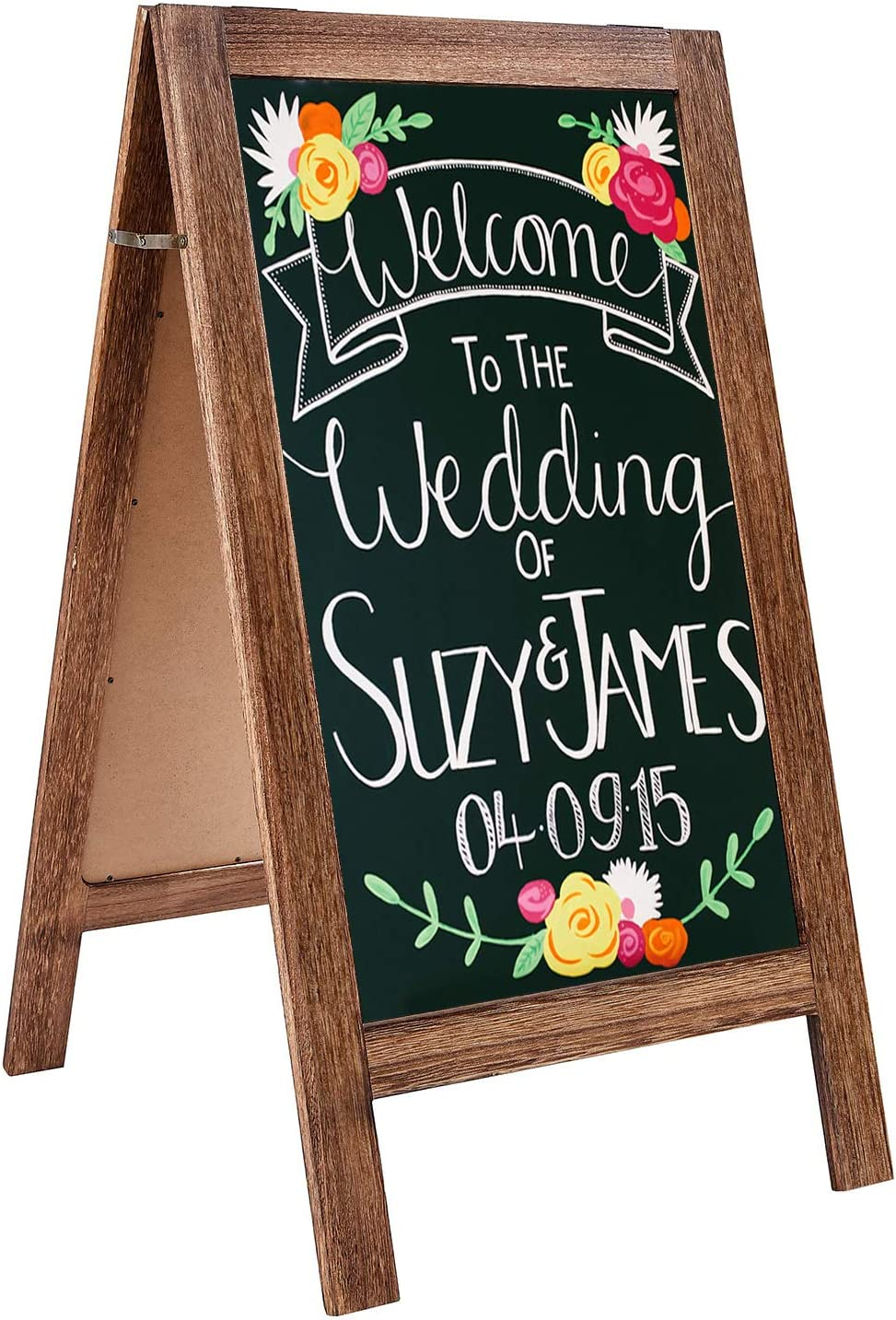 Amazon Com Rhf Extra Large 40 X22 Chalkboard Sign Handcrated A Framed Chalk Board Sign Sandwich Black Board Rustic Wedding Signs Chalkboard Easel Sidewalk Sign Double Sided Message Board Free Standing Brown Home Kitchen