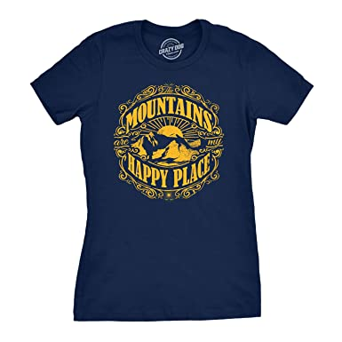 76fe5569bea42 Womens Mountains are My Happy Place Cool Vintage Rockies Outdoor Nature T  Shirt (Navy)