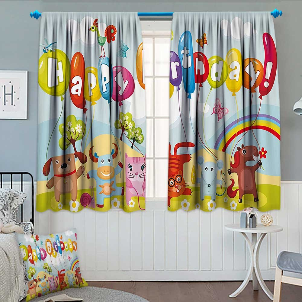 Birthday Decorations For Kids Thermal Room Darkening Window Curtains Farm Life Animals Balloons Rainbow Clouds Village Theme Party Decor By 72x63