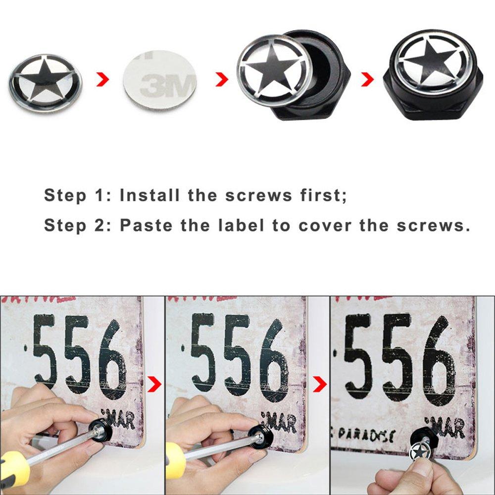 Dsycar Chrome Metal Skull Logo Anti-theft Car License Plate Bolts Frame Screws,Pack of 4