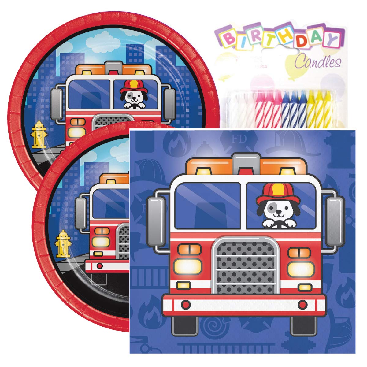 Amazon Flaming Fire Truck Birthday Party Pack Includes 7 Paper Plates Beverage Napkins Plus 24 Candles Serves 16 Health Personal