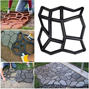 "17"" x 17"" Large Size Concrete Molds DIY Walk Maker Garden Path Paving Brick Mould Patio Pathmate Stone Mold Concrete Stamps Stepping Paver Walk Way Garden Courtyard Decoration Irregular Pattern"