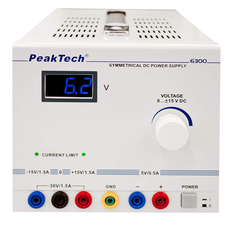 1,5 A ~ max 30 V CC. 15 V PeakTech P 6300 Alimentation lin/éaire ~ sym/étrique ~ 0-+//