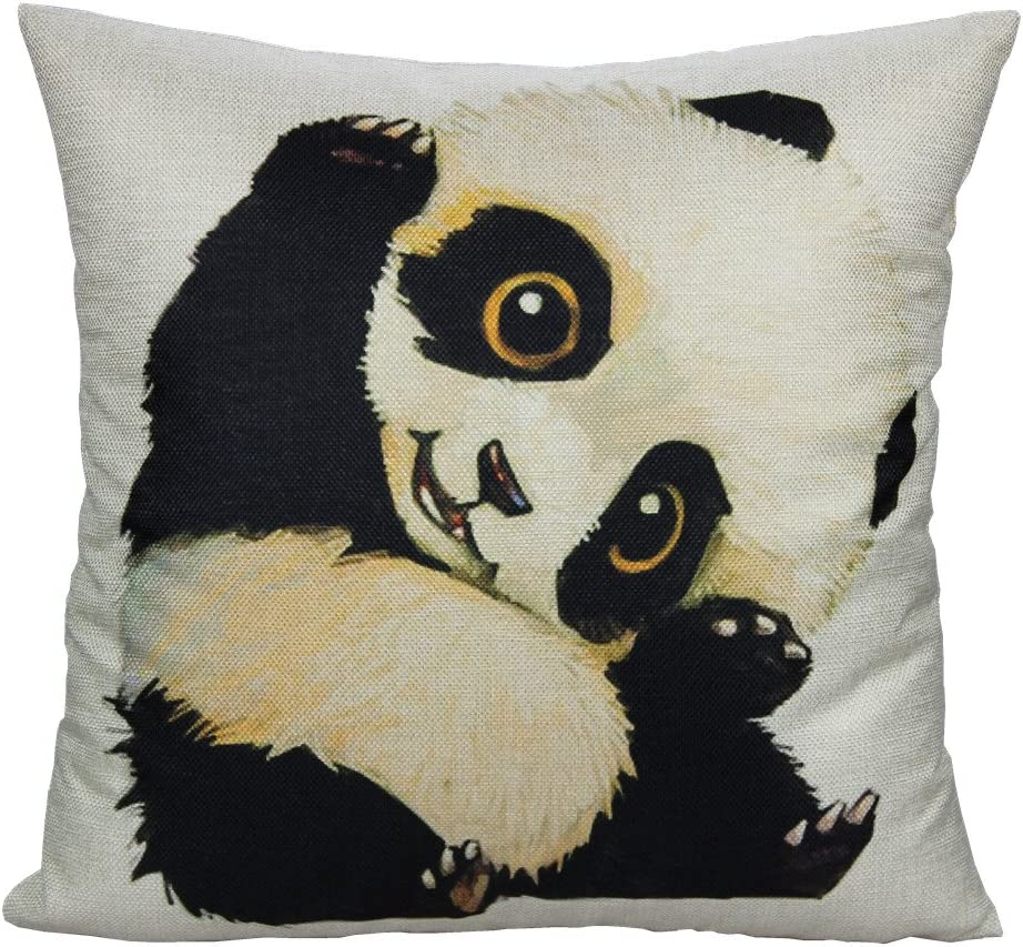 All Smiles Panda Gifts Throw Pillow Cover Case Panda Décorations Room Décor Cute Animal Decorative Cushion 18x18 for Kids
