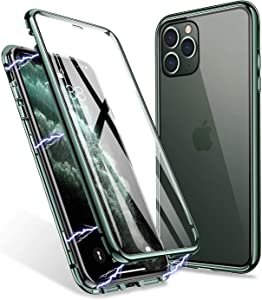 iPhone 11 Pro Max Case, ZHIKE Magnetic Adsorption Case Front and Back Tempered Glass Full Screen Coverage One-Piece Design Flip Cover [Support Wireless Charging] (Midnight Green)