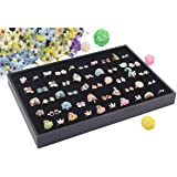 Wuligirl 100 Slot Ring Velvet Jewelry Tray Stackable Showcase Display Organizer, Black (100 Ring Jewelry Tray)