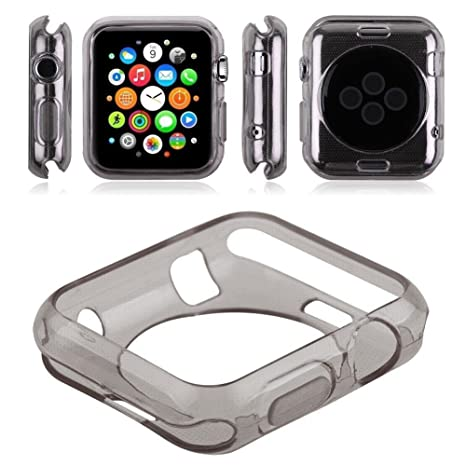Oaky - Apple Watch 42mm Case Series 2/3 [Lightweight Fit] Soft TPU Candy Skin [Anti-Shock] Compatible with iWatch 42mm Case for Series 2, Series 3 - Grey Smart Watches & Accessories at amazon