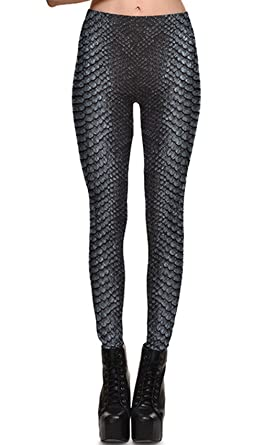 b19a19d53f95b Women's Snakeskin Leggings Stretch Pattern Tights Fashion Skinny Full  Length Leggings Punk Elastic Pants Grey S