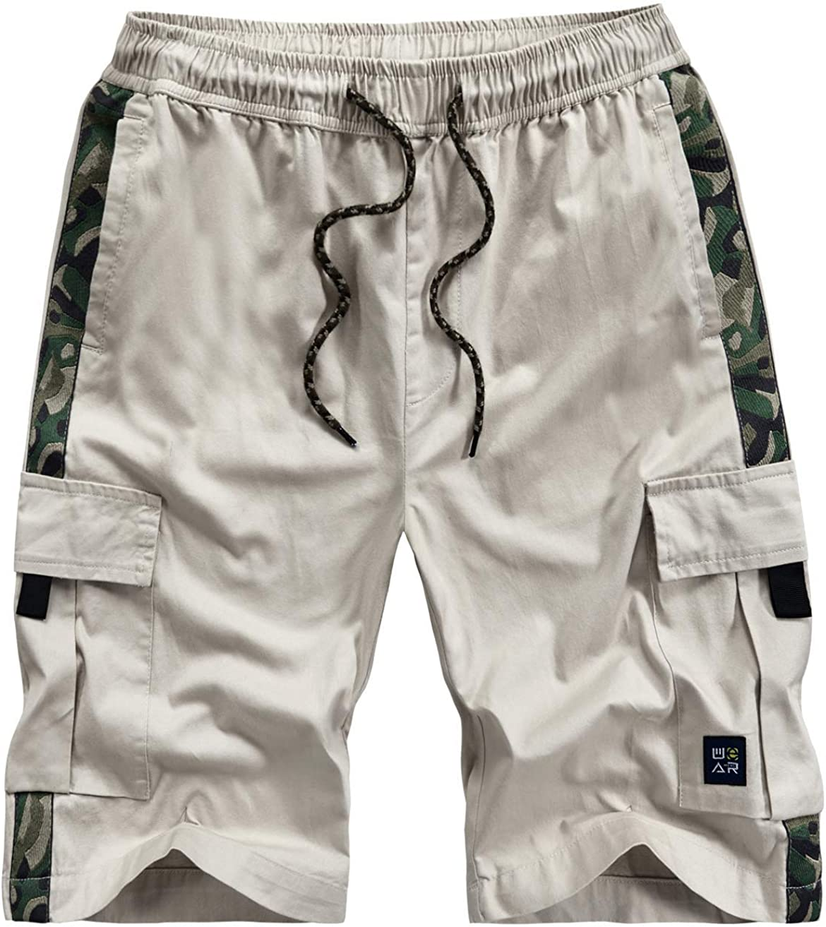 Vcansion Mens Casual Cotton Loose Fit Lightweight Multi-Pockets Cargo Shorts